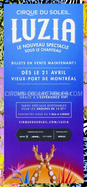 Cirque du Soleil Circus Ticket/Flyer - Canada 2016