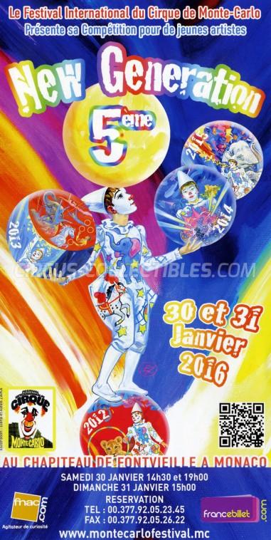 Festival International du Cirque de Monte-Carlo Circus Ticket/Flyer -  2016
