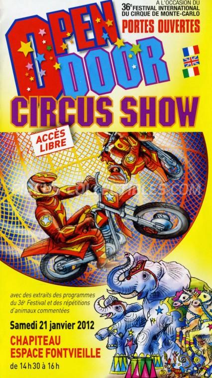Festival International du Cirque de Monte-Carlo Circus Ticket/Flyer -  2012