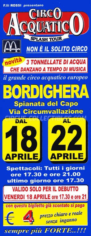 Acquatico Circus Ticket/Flyer - Italy 2003