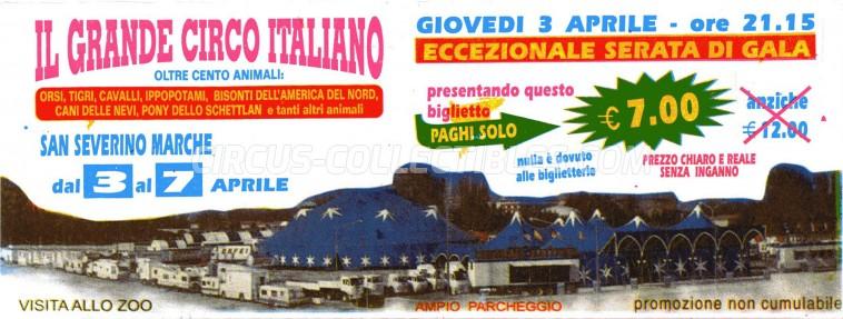 Il Grande Circo Italiano Circus Ticket/Flyer - Italy 2003