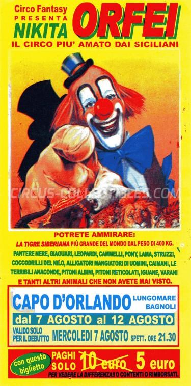 Nikita Orfei Circus Ticket/Flyer - Italy 2002