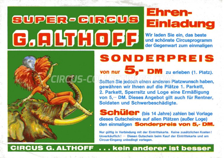 Giovanni Althoff Circus Ticket/Flyer -  1986