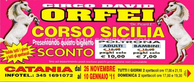 David Orfei Circus Ticket/Flyer - Italy 2011