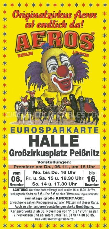Aeros Circus Ticket/Flyer - Germany 0