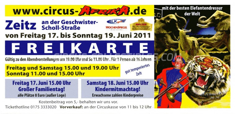 Afrika Circus Ticket/Flyer - Germany 2011