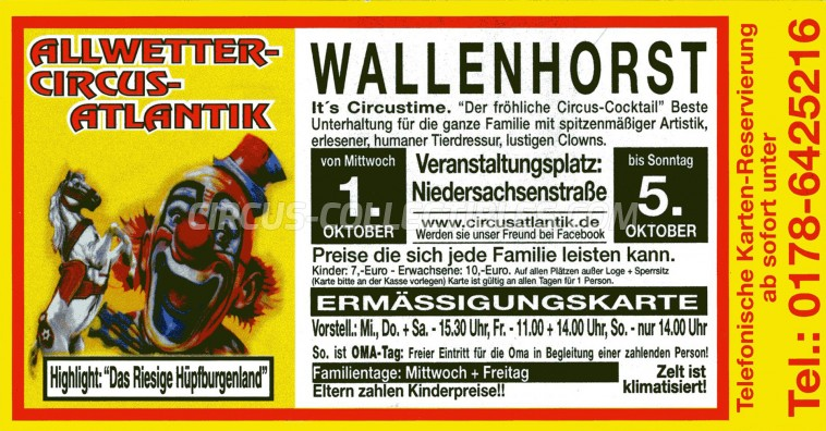 Atlantik Circus Ticket/Flyer - Germany 2014