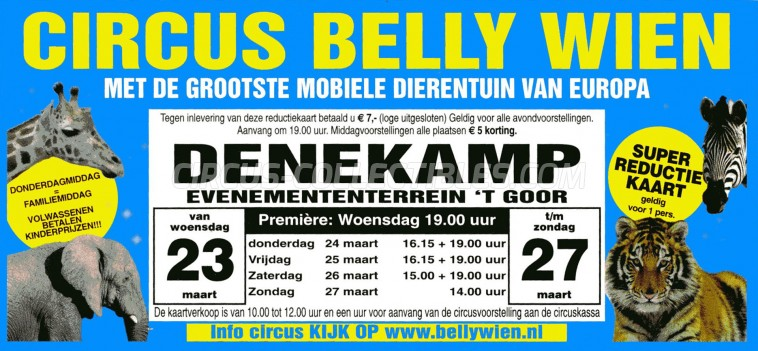 Belly Wien Circus Ticket/Flyer - Netherlands 2011
