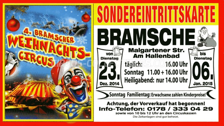 Bramscher Weihnachts-Circus Circus Ticket/Flyer - Germany 2014