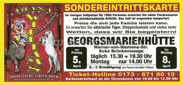 Diana Williams Circus Ticket/Flyer - Germany 2013