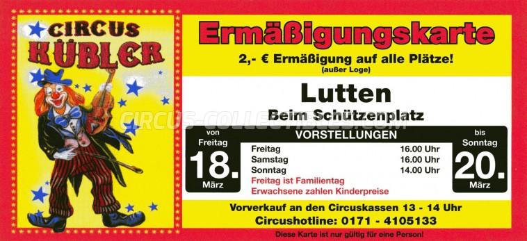 Hubler Circus Ticket/Flyer - Germany 2011