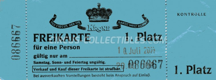 Krone Circus Ticket/Flyer -  2014