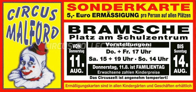 Malford Circus Ticket/Flyer - Germany 2011