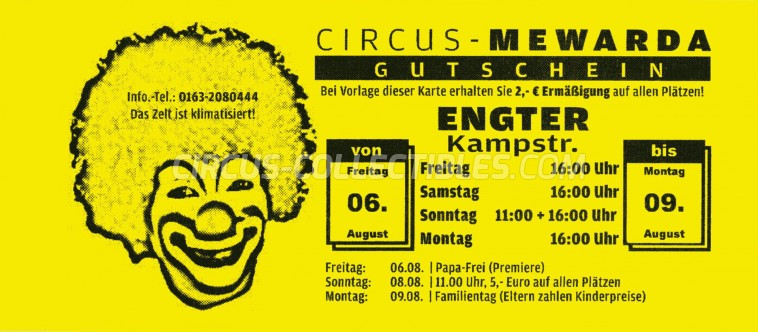 Mewarda Circus Ticket/Flyer - Germany 2010