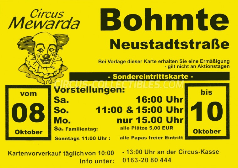 Mewarda Circus Ticket/Flyer - Germany 2011
