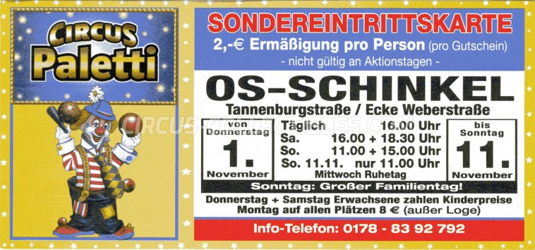 Paletti Circus Ticket/Flyer - Germany 2012