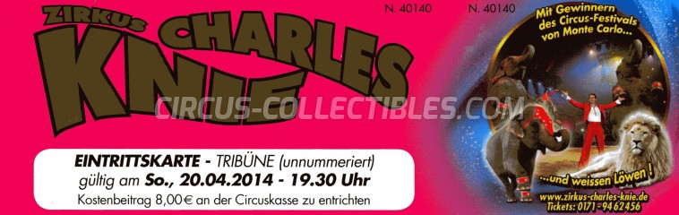 Charles Knie Circus Ticket/Flyer -  2014