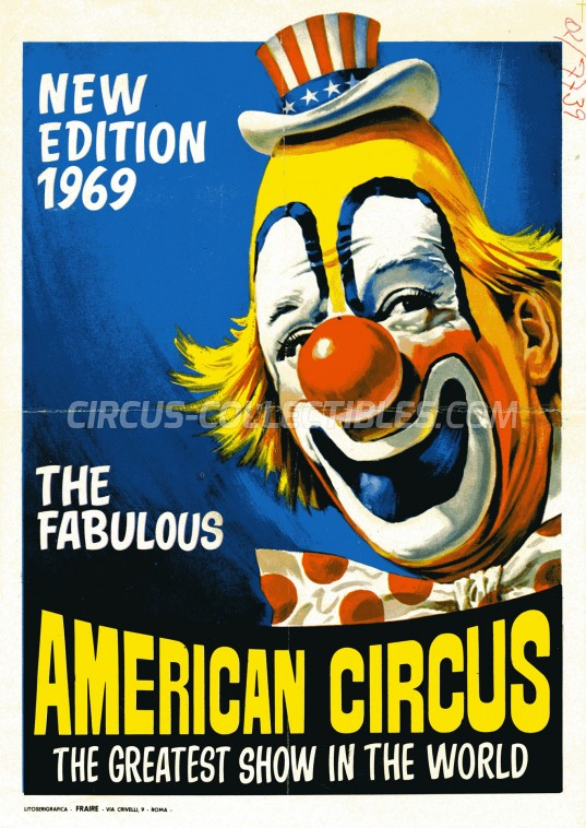 American Circus Circus Ticket/Flyer - Italy 1969