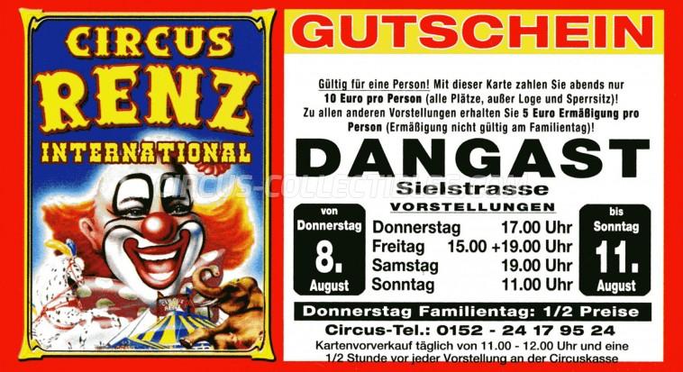 Renz International Circus Ticket/Flyer - Germany 2013