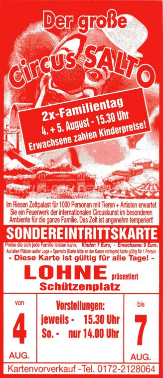 Salto Circus Ticket/Flyer - Germany 0