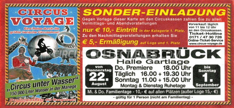 Voyage Circus Ticket/Flyer - Germany 2013