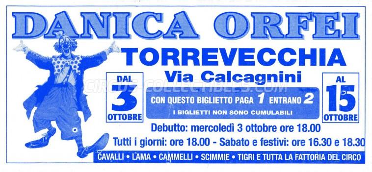 Danica Orfei Circus Ticket/Flyer - Italy 0