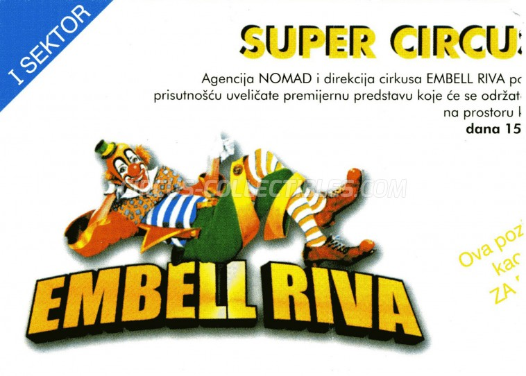 Embell Riva Circus Ticket/Flyer - Serbia 2003
