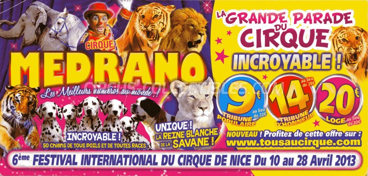 Medrano (FR) Circus Ticket/Flyer - France 2013