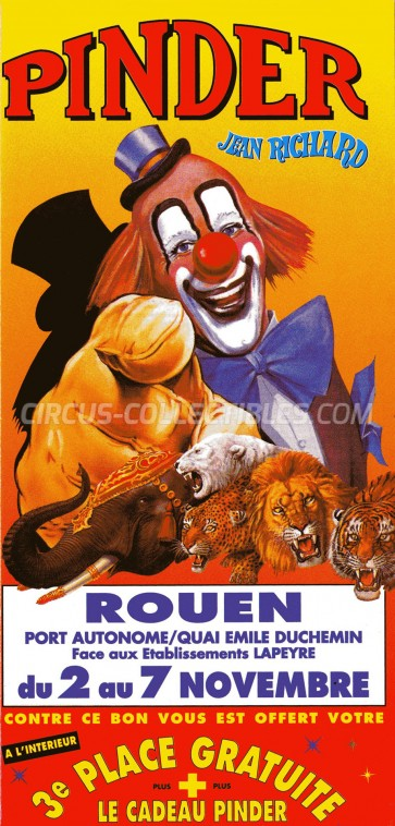 Pinder - Jean Richard Circus Ticket/Flyer - France 0