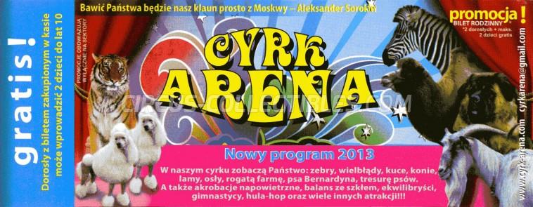 Arena (PL) Circus Ticket/Flyer -  2013