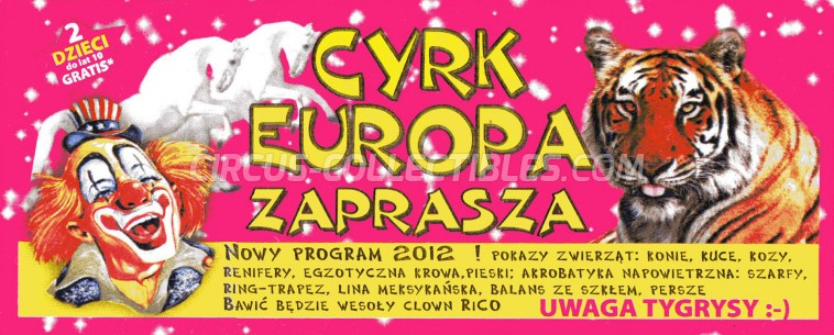 Europa Circus Ticket/Flyer -  2012