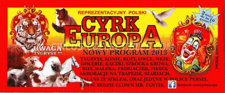 Europa Circus Ticket/Flyer -  2013