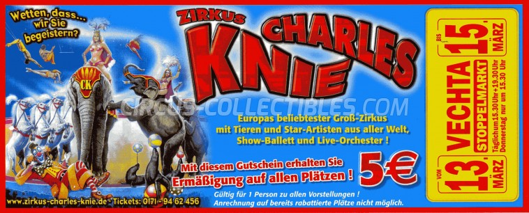Charles Knie Circus Ticket/Flyer - Germany 2013