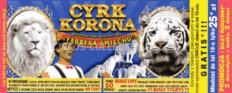 Korona Circus Ticket/Flyer -  2013