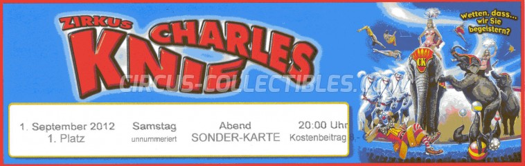 Charles Knie Circus Ticket/Flyer -  2012