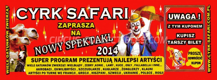 Safari (PL) Circus Ticket/Flyer -  2014