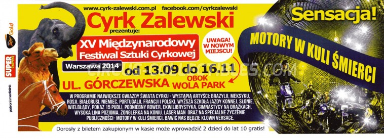 Zalewski Circus Ticket/Flyer - Poland 2014