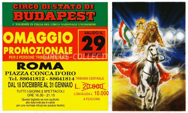 Circo di Stato di Budapest Circus Ticket/Flyer - Italy 1990