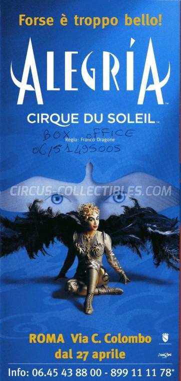 Cirque du Soleil Circus Ticket/Flyer - Italy 2006