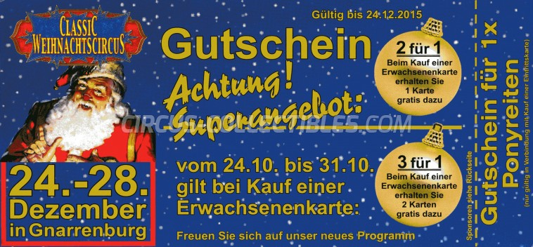 Classic Weihnachtscircus Circus Ticket/Flyer - Germany 2015