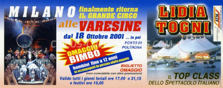 Lidia Togni Circus Ticket/Flyer - Italy 2001