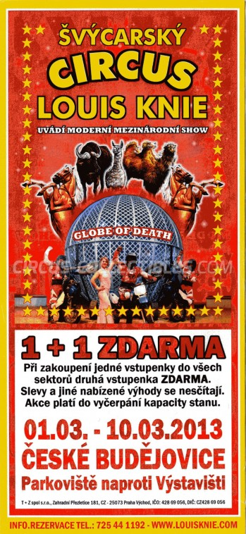 Louis Knie Circus Ticket/Flyer - Czech Republic 2013