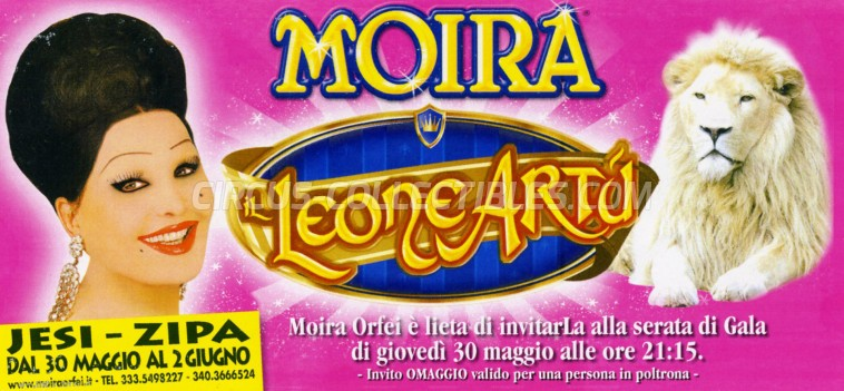 Moira Orfei Circus Ticket/Flyer - Italy 2013