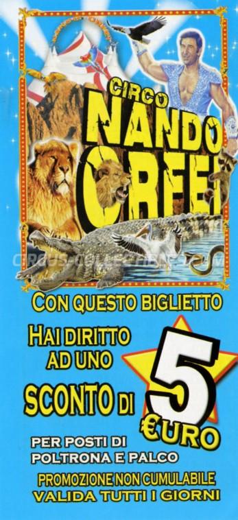 Nando Orfei Circus Ticket/Flyer - Italy 2015