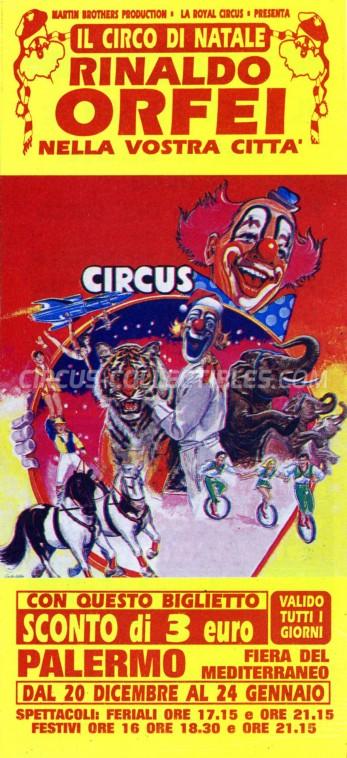 Rinaldo Orfei Circus Ticket/Flyer - Italy 0