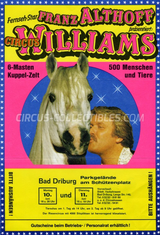 Althoff-Williams Circus Ticket/Flyer - Germany 1985