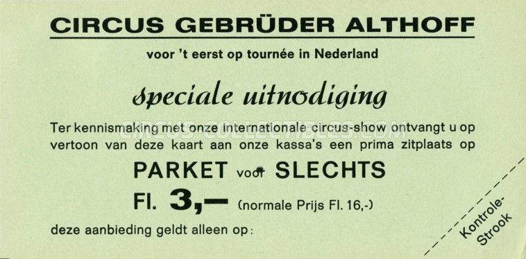 Gebrüder Althoff Circus Ticket/Flyer - Netherlands 0