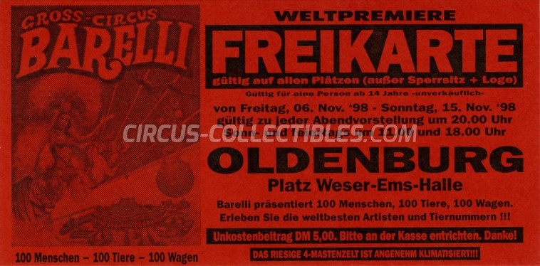 Barelli Circus Ticket/Flyer - Germany 1998