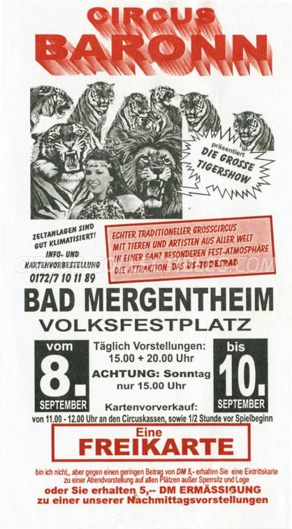 Baronn Circus Ticket/Flyer - Germany 2000