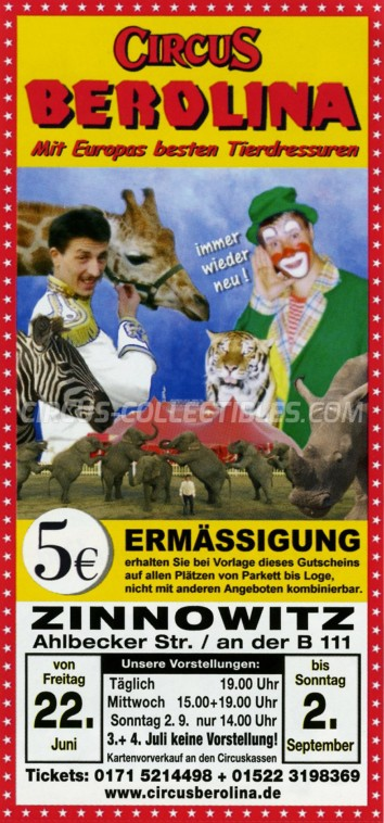 Berolina Circus Ticket/Flyer - Germany 2001